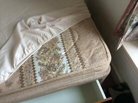Single Bed (divan Base) and Mattress - UK manufactured - base with storage drawers