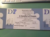 3 tickets for sell out show A HANDFUL OF PEOPLE by Velo Theatre 3pm this saturday
