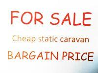 Bargain caravan for sale at Pease Bay. Next to fantastic sandy beach. Last empty pitch. Scotland.