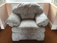 2 very comfy armchairs with removable covers pale floral beige fabric design