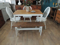 Vintage, shabby chic style dining table 3 chairs and bench