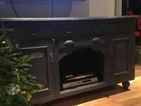 Victorian sideboard painted in navy chalk paint