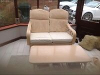 Conservatory sofa and two chair cream and table