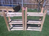Wooden shelving units