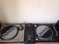 Pair of fully serviced Technics 1200/1210 MK2 with Ecler Nuo mixer Aiaiai headphones, Shure M35x