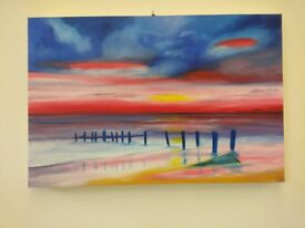 RED SUNRISE AT LOWESTOFT ORIGINAL OIL PAINTING