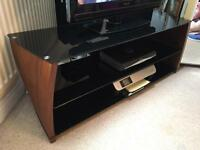 As new TV stand RRP £350 solid wood and glass