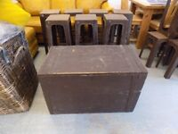 Vintage Old Wooden Storage Box Trunk Chest