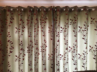 2 pairs of curtains 228cm by 183cm each and matching cushions
