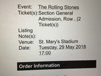 The Rolling Stones 2 x Tickets for Southampton St Mary's 29th May