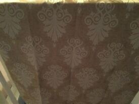 Fully lined eyelet gold & cream damask Curtains & 2 matching cushions