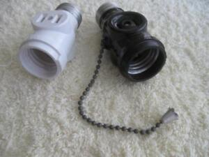 TWO VINTAGE ELECTRICAL LIGHT-BULB DOUBLE-PLUG RECEPTACLES {ONE with CHAIN PULL]}