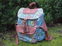 Sakroots designer Artist Circle Flap Backpack bag Teal Spirit Desert design Rare 