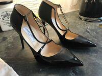 Designer Jimmy Choo Mallow Asphalt & Black Patent Leather Pointy Toe Strap Heels uk7 eu40 rp£599