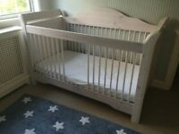 Cot from white washed birch wood - form baby to toddler