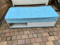 Blue 2ft small single divan bed with sliding drawer and mattress