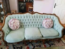 Rococo style duck egg sofa set