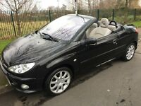 Peugeot 206 cc 1.6 allure electric hard top convertible stunning looking car in black