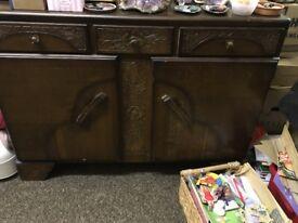 Dark Wood Triple Drawer Sideboard