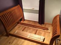 """SOLID OAK 'Creations' designer 4ft6"""" double 'sleigh' bed"""