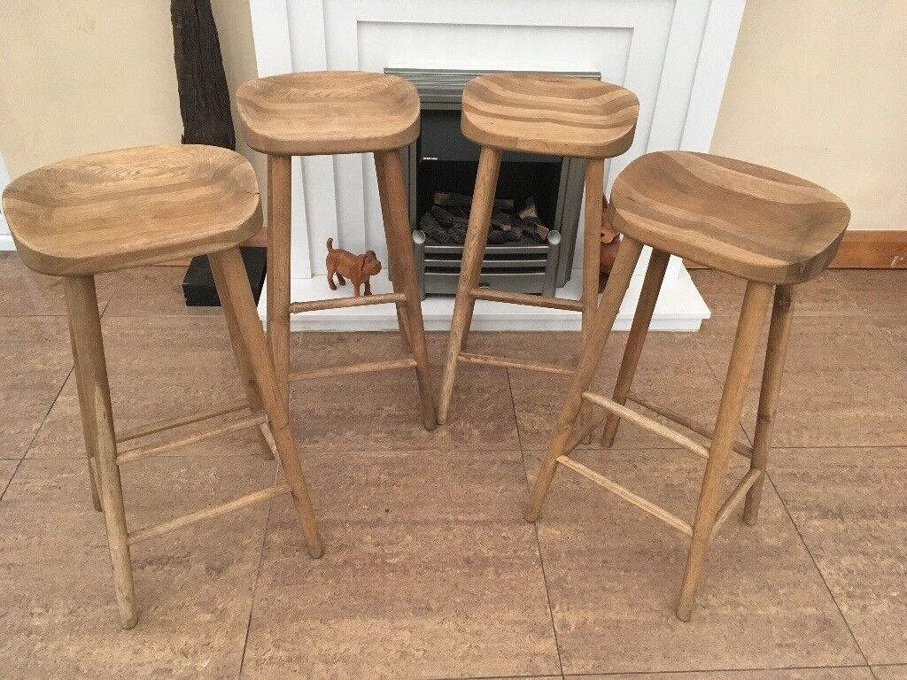 Oak bar stools handmade weathered oak x4