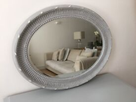 Large oval Vintage, shabby chic French style mirror
