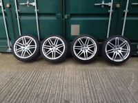 """SET OF FOUR 4 X AUDI 19"""" RS4 DEEP DISH ALLOYS WITH TYRES"""