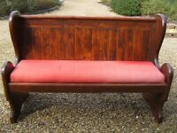 149 cm PEW / SETTLE WITH REMOVABLE CUSHION. Delivery poss. ALSO CHURCH CHAIRS & PINE MONKS BENCH.