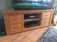 Next Solid Oak TV Unit with 4 Drawers and 2 Shelves