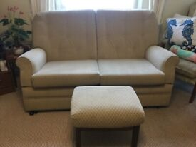 Lovely 2 seater sofa with matching foot stool