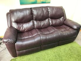 Almost New 3 Seater Wine Leather Sofa