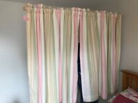 LAURA ASHLEY STRIPED INTERLINED CURTAINS WITH BEECH POLE & PINK TIEBACKS