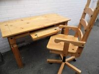 For SALE beautiful Mexican Pine Computer Desk & Matching Swivel Chair