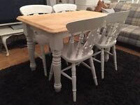 Gorgeous Shabby Chic Chunky Farmhouse Pine Table and 4 Chairs