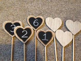 Wooden heart table numbers