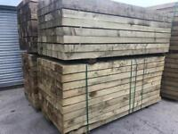 🌹 NEW TANALISED TIMBER/ WOODEN RAILWAY SLEEPERS > 190 X 90 X 2.4M