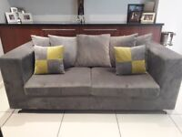 Two 3 seater Velvet sofas with scatter cushions like new 1 month old