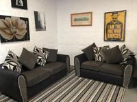 Stunning black and grey fabric sofa set