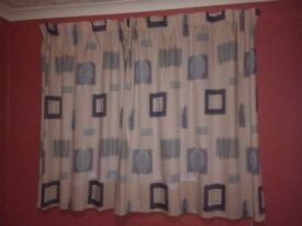 Blue / Beige LINED Curtains