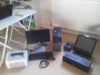 P O S electronic till, barcode scanner, receipt roll and back office computer, screen, printer.