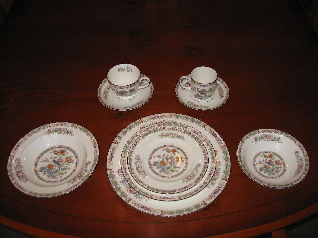 82 Piece Wedgwood Kutani Crane Bone China Dinner Service+Coffee+Tea