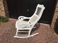 Vintage white cane rocking chair