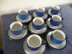 Denby Imperial Blue - cups & saucers (8)