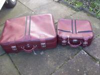 2 Piece Matching Burgundy Luggage Set 1 Wheeled Case and 1 Cabin Bag Size Case