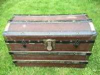 AntiqueTrunk with domed top and lift out inner tray