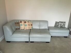 Leather 2 seater sofa with footstool