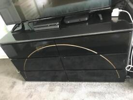 Black high gloss 6 drawer dresser