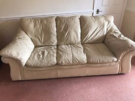 Cream leather 3 seater sofa, armchair and pouffe