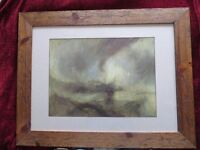 """Framed picture of J M W Turner's """"Snow Storm - Steam-Boat off a Harbour's Mouth"""""""