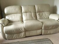 Leather settee/cushions/rug/curtains